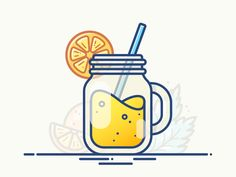 Cocktail Jar designed by Alex Kunchevsky. Connect with them on Dribbble; the global community for designers and creative professionals. Food Graphic Design, Vintage Logo Design, Web Design, Vector Design, Icon Design, Cute Easy Drawings, Mini Drawings, Kawaii Drawings, Doodle Drawings