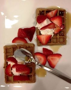 Delicious Belgian Waffles with fresh berries, Greek yogurt, and pure ...
