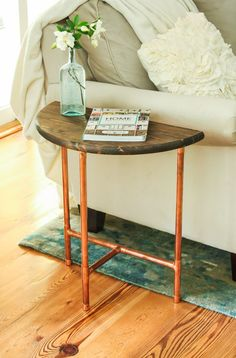 Half Round Copper & Wood Side Table DIY More Source by jmhawkes Copper Side Table, Rustic Side Table, Copper Living Room, Living Room Accents, Copper Wood, Copper Decor, Diy Table, Wood Table, Couch Table