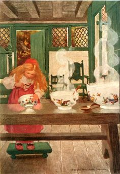 Goldilocks; or The Three Bears. Illustration from A Child's Book of Stories - Illustrated by Jessie Willcox Smith.