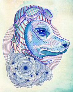 """Dog Pilot"" - Eric Boom {contemporary art animal head profile illustration} boomartwork.com"