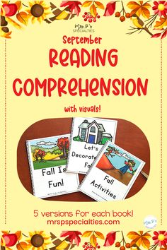 Teach your students how to comprehend text in a book format with these 8 short readers. Each book comes in 5 different formats including a digital format. Target reading skills, comprehension and listening comprehension with these books. Click to grab your set now. Reading Comprehension Skills, Reading Skills, Multiple Disabilities, Direct Instruction, Special Education Classroom, Student Reading, Autumn Activities, Book Format, Target