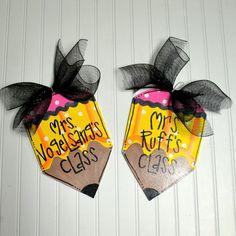Teacher Appreciation, Custom Teacher gift, Classroom Door Hanger, Pencil Door Hanger, Classroom Sign via Etsy