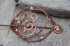 Frozen air pearl and copper wire wrap hair by Keepandcherish, $42.00