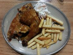 Barbeque chicken and french fries