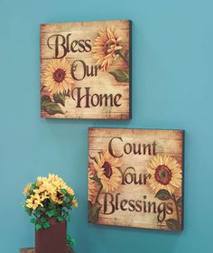 "16"" Sunflower Blessings Wall Art 
