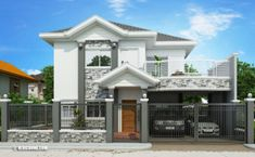 Modern Bungalow House Design With Three Bedrooms - Ulric Home Two Story House Design, 2 Storey House Design, House Plans Design, Modern Bungalow House Design, Modern Houses, Modern Mediterranean Homes, Double Storey House, 4 Bedroom House Plans, Traditional House Plans
