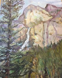 Original Landscape Painting Yosemite Waterfalls 16 x Yosemite National Park, National Parks, Yosemite Waterfalls, Original Art, Original Paintings, Waterfall Paintings, Landscape Paintings, The Originals, Instagram Posts