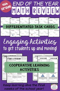 "These cooperative learning activities will keep your fourth graders learning & active in the final weeks of school! Choose from two ""Find a Friend"" pages (similar to Find Someone Who), a set of 32 differentiated task cards, or partner practice pages at 4 Cooperative Learning Activities, Teaching Math, Teaching Ideas, Number Activities, Fourth Grade Math, Second Grade Math, Math Lessons, Math Skills, Math Resources"