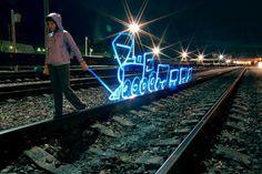 Train en lightpainting C Freezelight.ru Team