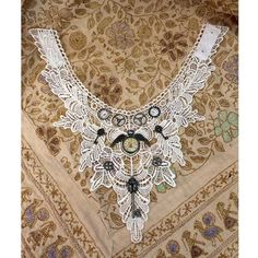 White Steampunk Gothic lace collar necklace with keys, cogs & clock (N002)