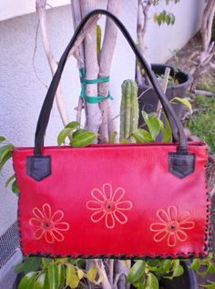Vintage Red Leather with Flower Design Tote by PopsCandy on Etsy, $22.00