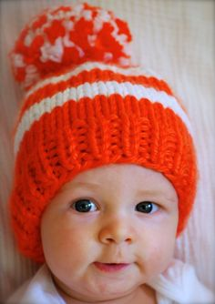 Items similar to Sunny Orange & White Beanie - Max's Mini Baby Beanie Hat - Super Cozy Warm for Baby Toddler or Kids - Topped with a Big Happy Pom Pom on Etsy Kids Beanies, Kids Hats, Baby Hat Knitting Pattern, Baby Knitting, Seattle Seahawks Hat, Baby Beanie Hats, Little Blessings, Knitting Accessories, Knitted Hats