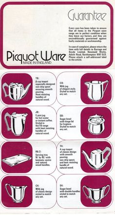 Picquot Ware – Instructions & guarantee information | Cassiefairy - My Thrifty Life