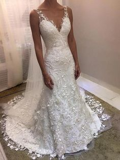 V Neck Backless Lace Mermaid Cheap Wedding Dresses Online, Cheap Bridal Dresses, Wedding Dress Backs, How To Dress For A Wedding, Western Wedding Dresses, Lace Mermaid Wedding Dress, Bridal Wedding Dresses, Mermaid Dresses, Backless Wedding, Weeding Dress, Wedding Sarees