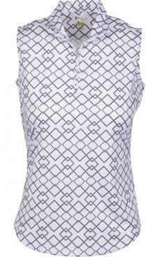 8ba8c94ac32 Greg Norman Ladies Zip Rope Geo Sleeveless Golf Shirts - ESSENTIALS (White)