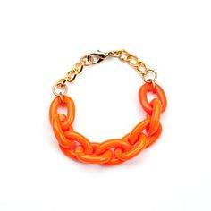 MeShe Designs: Link Chain Bracelet Neon Orange, at 18% off!
