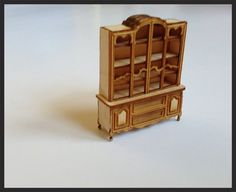 KIT- Dollhouse Miniature China Cabinet KIT  quarter scale 1/4 by SmallScaleLiving, $20.00