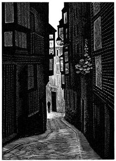 Hilary Paynter: Street in Toledo (wood engraving)