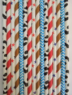 50 Cowboy Party Paper Straw Mix, Boys Birthday Party, Farm Western Texas American Country Rodeo Party, Mason Jar Straws Kids Party Cow Print $5.99