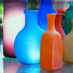 Colorful vases.
