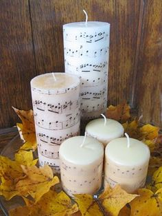 music diy ideas, music candl, craft, gift, sheet music, christmas candles, music sheets, candle decorations, pottery barn