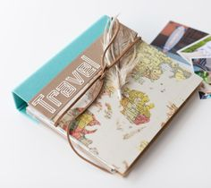 Travel Journal made with images from the Mondo Fonts Cricut cartridge by Rob and Bob. Make It Now with the Cricut Explore machine in Cricut Design Space.