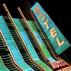 Retro Hotel sign in Las Vegas, US.  Taken by Thomas Hawk