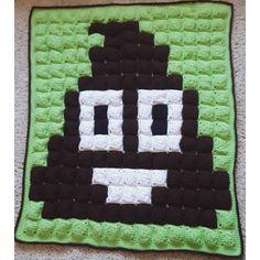 Poop emoji pixel crochet blanket by doitmegself                                                                                                                                                                                 More