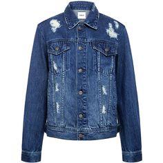 Edit - Distressed Boyfriend Denim Jacket (2,995 MXN) ❤ liked on Polyvore featuring outerwear, jackets, blue jackets, boyfriend jacket, blue jean jacket, layered jacket and distressed jean jacket