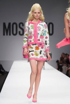 Moschino Spring 2015--After last season's McDonalds themed collection, Moschino creative director Jeremy Scott looked towards Barbie for inspiration with t