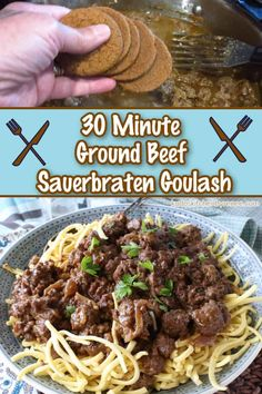 Here's an easy twist on a German classic. Ground Beef Sauerbraten Goulash has all the warm spicy flavor of traditional sauerbraten but with using ground beef it will be on the table in less than 30 minutes. You're welcome!! #groundbeefrecipe #germancuisine #goulash #sauerbraten #gingersnaps #eggnoodles #spaetzle #meatsauce #30minutemeal #easyfamilydinner #falldinner #oktoberfestrecipe #kudoskitchenrecipes Ground Beef Recipes, Pork Recipes, Seafood Recipes, Chicken Recipes, Easy Family Dinners, Family Meals, Easy Meals, Brunch Recipes, Breakfast Recipes