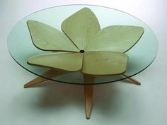 Simple, Stylish & Modular: Wood & Glass Coffee Table. Organic-wood curved table design