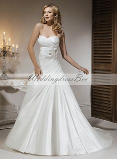 A-line Strapless floor-length taffeta wedding dress.....not crazy about the fabric but I like the design and shape
