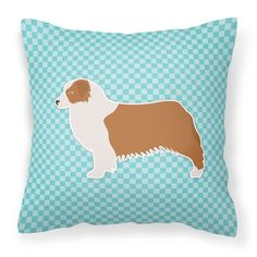 Australian Shepherd Dog Checkerboard Blue Fabric Decorative Pillow BB3733PW1818