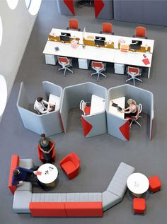 """Another example of the row of """"quiet"""" public work stations. Those cubes are cool but we wouldn't have room."""