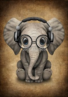 Cute Baby Elephant Dj Wearing Headphones and Glasses