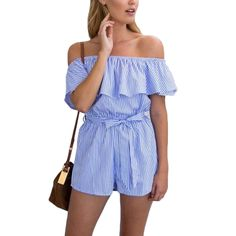 f43e056488ab 2017 Fashion Summer Women Off Shoulder Ruffles Stripes Loose Jumpsuits  Rompers Sexy Beach Jumpsuit  Affiliate
