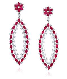 Cellini Jewelers Ruby and Diamond Open Marquis Drops. Set in 18 karat gold.