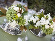 Centerpieces Green & White on Silver Tea Trays/ by Soigné Productions, Tricia Fountaine Design, Kirsten Beinke Photography