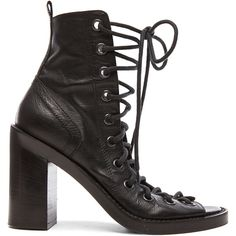 Ann Demeulemeester Lace Up Heels (3.495 BRL) ❤ liked on Polyvore featuring shoes, pumps, heels, peep-toe pumps, peep toe shoes, high heel peep toe shoes, lace up pumps and lace up shoes