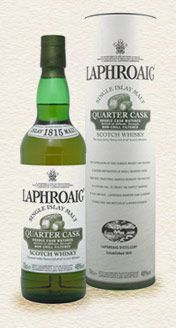 Laphroaig Quarter Cask Scotch - Hits big with lots of the campfire smoke that Laphroaig is known for.  This is offset with a sweet, creamy almost coconut flavor that probably comes from the extra wood contact provided by the small quarter casks.