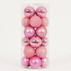 Moxeay® 24pcs set, 8CM Shiny Colorful Shatterproof Christmas Ball Ornaments for Home, Outdoors, Christmas Tree. Glittered, Shiny, and Matte Christmas Ball Ornament Set (Pink)