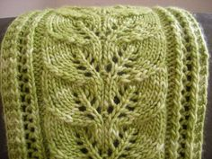 Ravelry: Brooke's Column of Leaves Knitted Scarf pattern by Brooke Nelson - I would love to use this lace pattern as the spine of a shawl Knit Purl Stitches, Knitting Stiches, Loom Knitting, Knitting Patterns Free, Free Knitting, Free Pattern, Knit Or Crochet, Crochet Scarves, Knitted Hat