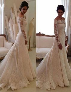 Elegant Bateau Long Sleeves Sheath Lace Wedding Dress Sweep Train