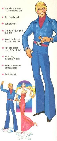 The greatest Ken ever made, Superstar Ken - 1977.  I used to call him my Disco Ken!  The Jumpsuit, the sunglasses, the jewelry....CLASSIC!