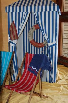blue and white striped beach tent made from deckchairstripes interior stripe fabric