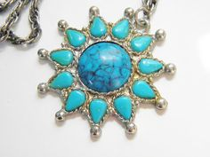 Vintage Glass Turquoise Sun Pendant Necklace by GrandVintageFinery, $14.00