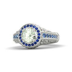 Round Green Amethyst 14K White Gold Ring with Sapphire & Blue Topaz - Primrose Ring   Gemvara