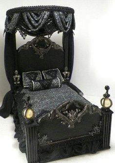 Looks like a fun doll house bed.how about a fun gothic doll house for Halloween? I'd leave it up all year.